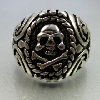 Vintage Biker Stainless Steel Skull Bone Mens Ring