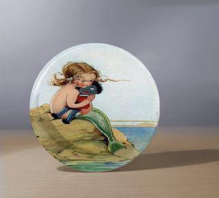 Vintage Little Girl Mermaid Hand Pocket Mirror