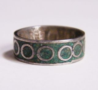 OLD TAXCO Mexican Sterling Silver 925 Eagle3 band Ring BETO chip inlay