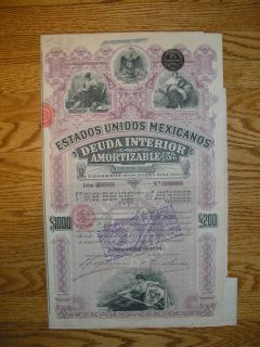 Unidos Mexicanos 1000 Deuda Interior Mexican bond coupons talon