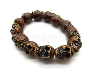 Mens Cool Yak Bone Skull Bead Gothic Bracelet Bangle