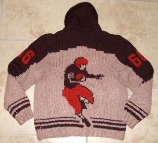 COWICHAN Vintage 60s 1966 Football SWEATER Cleveland Browns Jacket big