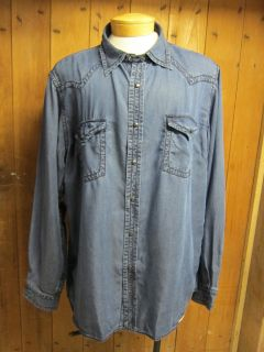 Ryan Michael Mens Metal Star Snap Front Western Denim Shirt New