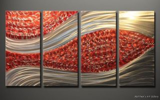 Metal Wall Art Abstract Modern Home Decor 4 Panels Large Contemporary
