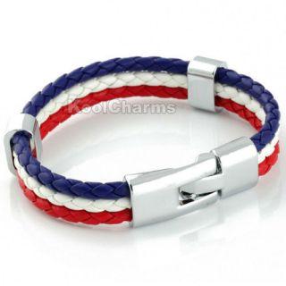 Mens France Flag Style Rope Surfer Leather Bracelet LB138