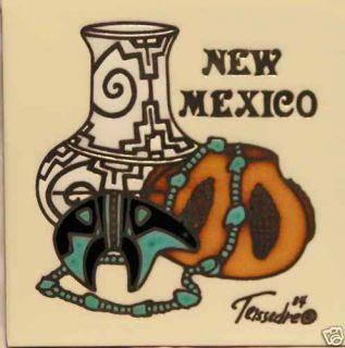 New Mexico Necklace Pots 6x6 Teissedre Trivet Art Tile