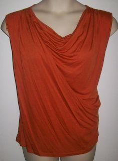 Michael Kors Womens Plus Size Burnt Orange Wrap Sleeveless Shirt Top