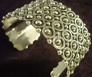Taxco Mexican Sterling Silver Beaded Bead Cuff Bracelet Mexico