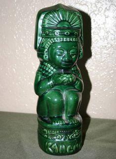Brandy liquor bottle decanter green Aztec Mexico ceramic handmade