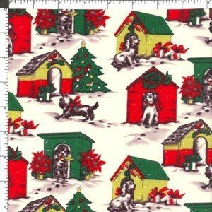 Michael Miller Retro Dog Puppy Christmas Holiday Doghouse Cotton
