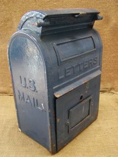 Vintage USPS Metal Cast Iron Dropoff Mailbox Antique Mail Box Garden