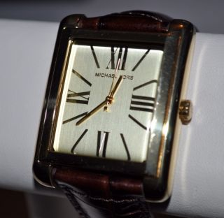 New Michael Kors Womens Brown Leather Watch MK2246 Gold Tone MSRP $180