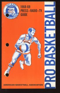 1968 1969 ABA Basketball Miami Floridians Press Radio TV Media Guide