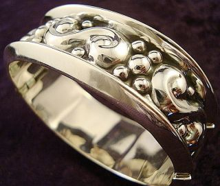 TAXCO MEXICAN STERLING SILVER BEADED BEAD CLAMPER BRACELET MEXICO