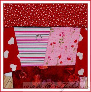 BOOAK Fabric Michael Miller Hoffman Heart Flower Batik Red Pink Cotton