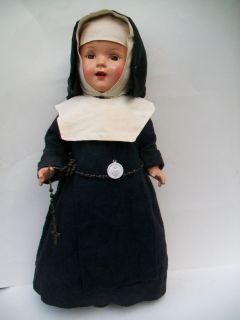 Vintage 17 Composition Nun Doll Repaint Orig Clothes Shoes