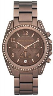 Michael Kors Brown Chrono Crystal Bezel Womens Watch MK5493