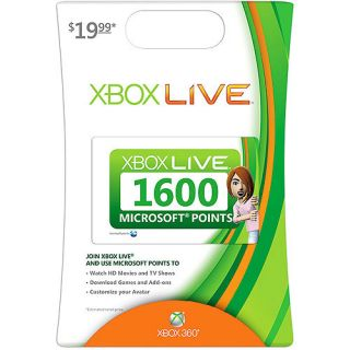 1600 Microsoft Points Xbox 360 Live Card US Brand New