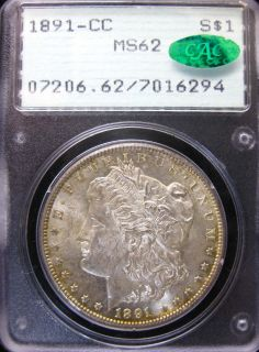 1891 CC Morgan Silver Dollar PCGS MS62 Rattler CAC Upgrade