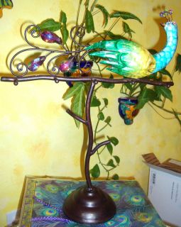 Peacock Handpainted Embellished Metal Jewelry Stand Multi Purpose Home