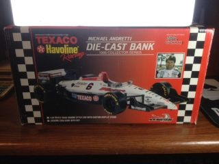MICHAEL ANDRETTI 1995 COLLECTOR SERIES DIE CAST METAL CAR AND BANK