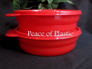 Tupperware Impressions MICROWAVE Popsicle RED Cereal Salad BOWLS SET