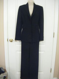 Tahari Suit Blazer Jacket Pants Womens 4 Black Silver Stripes SPARKLES