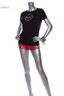 New w O Tag Michael Kors Womens Logo Design Studded T Shirt Black s XL