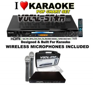 Star HDMI CDG DVD Karaoke Machine Wireless Microphones Included