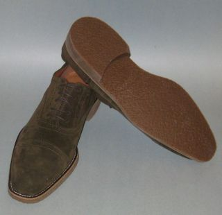 Mens Mike Konos Olive Green Suede Oxford Dress Shoes 9M