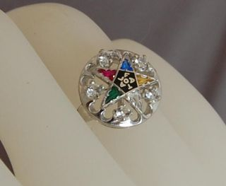 Estate Classic Eastern Star Enameled 14kt White Gold Ring