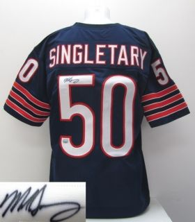 Mike Singletary Autographed Chicago Bears Navy Blue Custom Jersey Mm