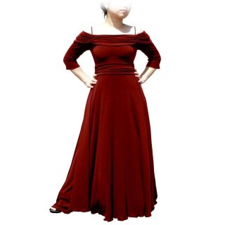 NEW Evanese Womens Off the shoulder 3/4 sleeves Dress  Red Wine Plus