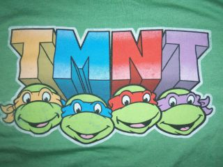Turtles T Shirt 80s Retro Tee Cartoon TMNT Faces Leo Mikey