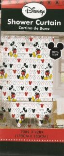 Disney Mickey Mouse Vinyl Bath Shower Curtain Brand New