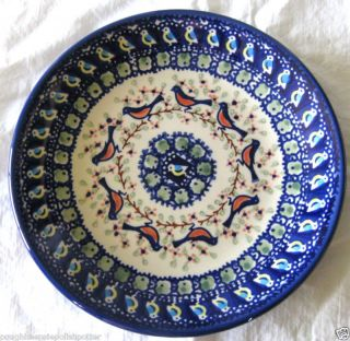 Polish Pottery Limited Edition Signature BB Robin Birds 8 5 Lunch