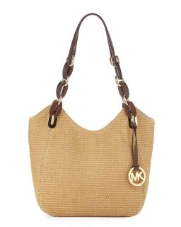 Michael by Michael Kors Lily Straw Medium Tote Moca