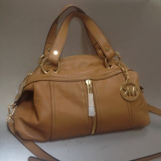 Michael Kors Moxley Leather Satchel Tan Brown BNWT Bag Purse New $398