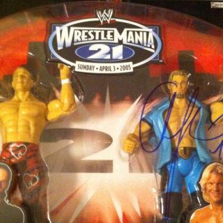 Shawn Michaels Auto Signed Chris Jericho WrestleMania 21 Two Pack WWF