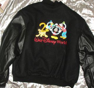Disney World Jacket Millennium 2000 Leather Wool Men s XL Embroidered