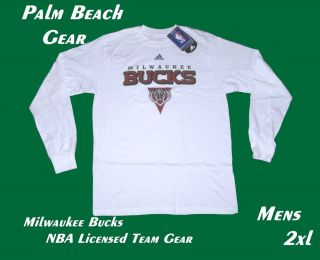Milwaukee Bucks Licensed NBA Adidas Mens LS Tee 2XL CLEARANCE Pricing