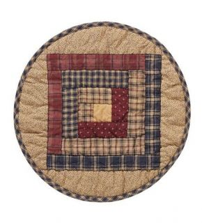 Primitive Country Log Cabin Millsboro Quilted 13 Table Mat Burgundy