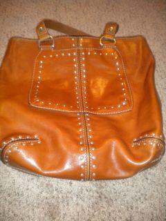 Michael Kors Astor Large Satchel Tote Brown Leather Purse Bag