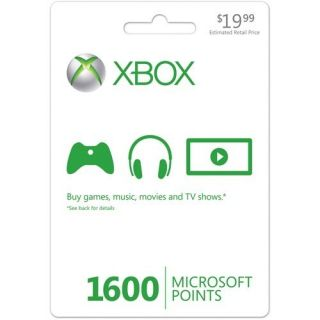 1600 Microsoft Points Xbox 360 Live Card Brand New