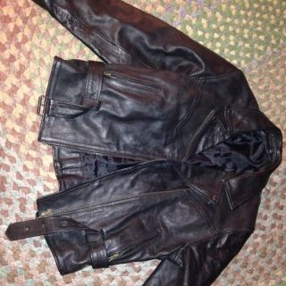 Hot Black Leather Biker Jacket Motorcycle Mens XL 42 Across Shoulders