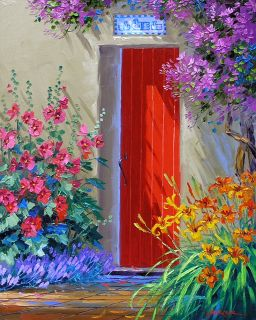Mikki Senkarik Art Original Oil Painting Mothers Day Gift Red Door
