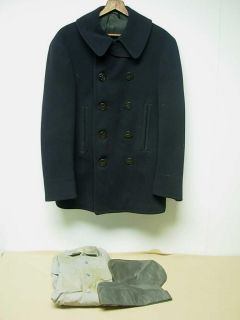 VTG WWII NAVY MILITARY UNIFORM NAVY BLUE WOOL DOUBLE BREASTED COAT
