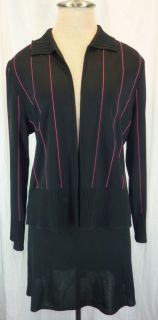 Ming Wang Black Pink 2pc Cardigan Jacket Skirt Suit s Small MISOOK