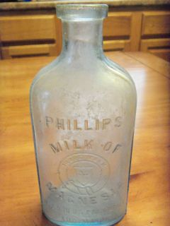 RARE Early Phillips Milk of Magnesia Medicine Bottle Light Aqua Pale