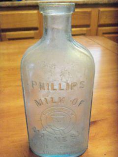 RARE Early Phillips Milk of Magnesia Medicine Bottle Light Aqua Pale